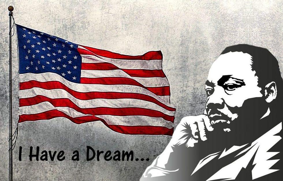 flag and MLK, Jr